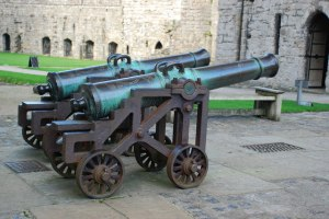 A pair of 18th-century Spanish cannons outside the museum of the Royal Welch Fusiliers in Caernarfon Castle.